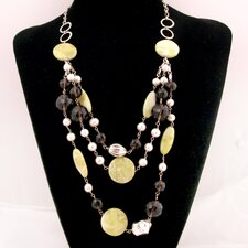 3 Layer Silver Chain Necklace with Cultured Pearls and Gemstones