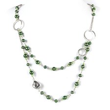 2 Layer Silver Chain with Green Cultured Pearls and Nugget