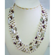 Multi-Strand White and Silver Cultured Pearl Necklace Crafted on Purple Thread with Amethyst and Leaf Shaped Shell
