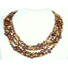 Multi-Strand Gold and Chocolate Cultured Pearl Necklace Crafted on Gold Thread with Flower Shell Clasp