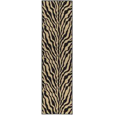 Ottohome Black/Beige Animal Print Zebra Rug