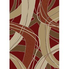 <strong>Ottomanson</strong> Manhattan Dark Red Abstract Rug