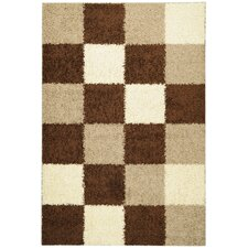 Ultimate Shaggy Brown Checkered Rug