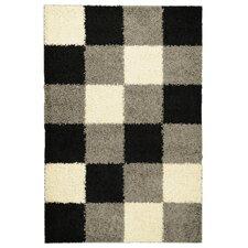 Ultimate Shaggy Black Checkered Rug