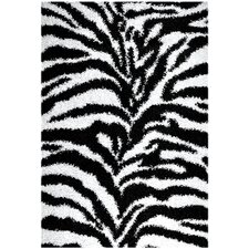 Ultimate Shaggy Black/Ivory Animal Print Zebra Rug