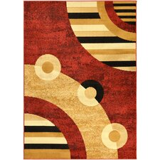Paterson Dark Red Circles Area Rug