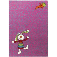 "Kinderteppich ""Rainbow Rabbit"" Heatset Frisée in Pink"