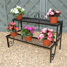 Two Tier Pot Stand in Black