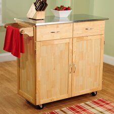 Large Kitchen Cart with Stainless Steel Top