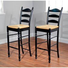 "30"" Ladder Back Stool in Black (Set of 2)"
