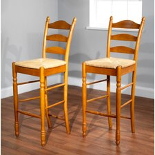 "30"" Ladder Back Stool in Oak (Set of 2)"