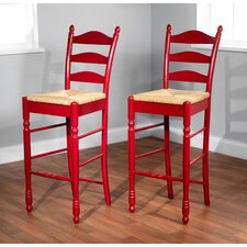 "30"" Ladder Back Stool in Red (Set of 2)"
