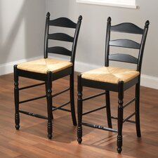 "24"" Ladder Back Stool in Black (Set of 2)"