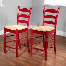 "24"" Ladder Back Stool in Red (Set of 2)"