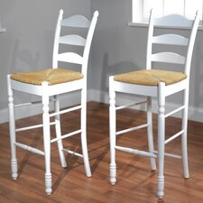 "30"" Ladder Back Stool in White (Set of 2)"
