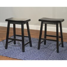 "24"" Belfast Saddle Stool in Black (Set of 2)"