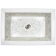 Floral Mother of Pearl Inlay Undermount Bathroom Sink