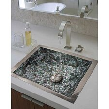 Rectangular Crescent Mosaic Bathroom Sink