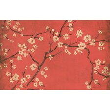 Golden Cherry Blossom Red Rug