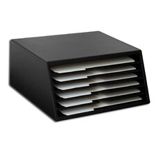 1000 Series Classic Leather Letter-Size Six-Tray File Sorter in Black