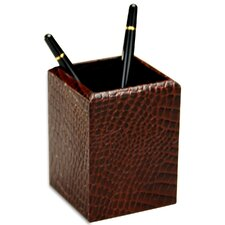 <strong>Dacasso</strong> 2000 Series Crocodile Embossed Leather Pencil Cup in Brown