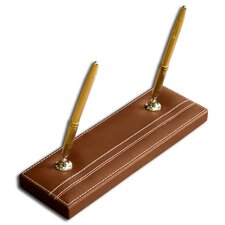 3200 Series Leather Double Pen Stand in Rustic Brown