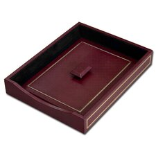 5000 Series 24kt Gold Tooled Leather Front-Load Letter Tray with Lid in Burgundy