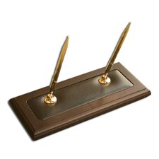 <strong>Dacasso</strong> 8000 Series Walnut and Leather Double Pen Stand