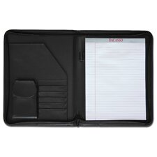 Leather Portfolios Top-Grain Deluxe Zip-Around Padfolio in Black