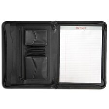 Leather Portfolios Top-Grain Enhanced Zip-Around Portfolio in Black