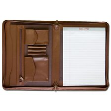 Leather Portfolios Top-Grain Enhanced Zip-Around Portfolio in Chocolate