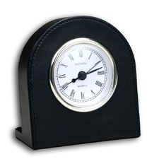 1000 Series Classic Leather Clock with Gold Insert in Black