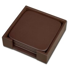 1000 Series Classic Leather Four Square Coasters with Holder in Chocolate Brown