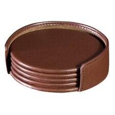 <strong>Dacasso</strong> 1000 Series Classic Leather Four Round Coasters with Holder in Chocolate Brown