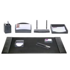 Crocodile Embossed Leather 8-Piece Desk Set