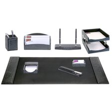 Crocodile Embossed Leather 10-Piece Desk Set