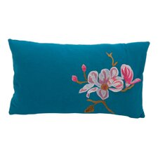 Magnolia Flower Embroidered Cushion