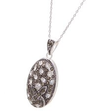<strong>Lesa Michelle</strong> Silver Plated Flower Gemstone Pendant Necklace