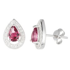 Pear Cut Cubic Zirconia Stud Earrings