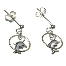Dolphin Circle Drop Earrings