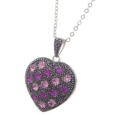 Silver Plated Heart Gemstone Pendant Necklace