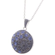Silver Plated Flower Gemstone Pendant Necklace
