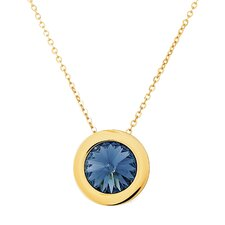 Stainless Steel Sapphire Crystal Pendant Necklace