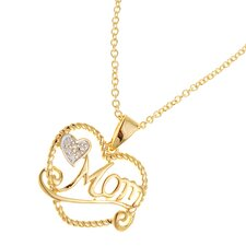 Silver Plated Heart and Mom Cubic Zirconia Pendant Necklace