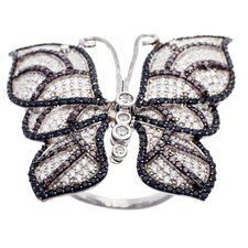 Sterling Silver Butterfly Cubic Zirconia Ring