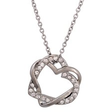 Stainless Steel Heart Cubic Zirconia Pendant Necklace