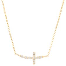 Sterling Silver Cross Cubic Zirconia Pendant Necklace