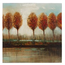Tuscan Riverside Trees Canvas Art