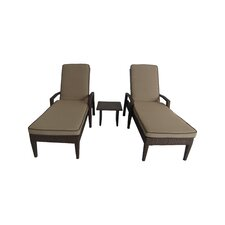 Salinas 3 Piece Chaise Lounge Set with Cushions