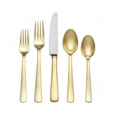 5 Piece Echo Gold Flatware Set